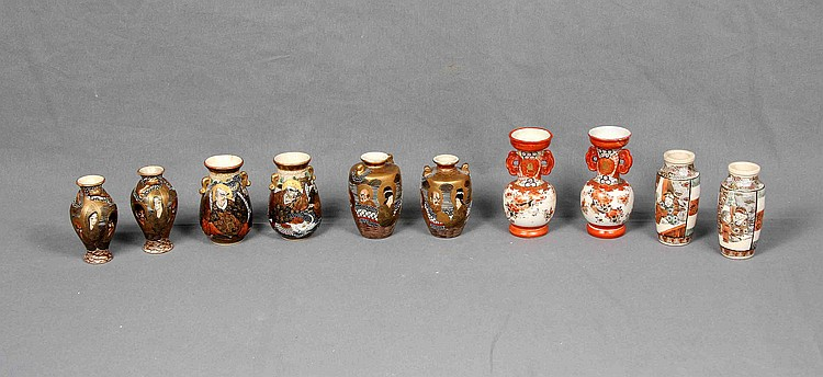 A SET OF FIVE JAPANESE SATSUMA VASES, 19TH CENTURY