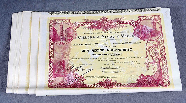 TWENTY SHARES OF THE SOCIETY OF ECONOMIC RAILROADS OF VILLENA TO ALCOY AND YECLA.