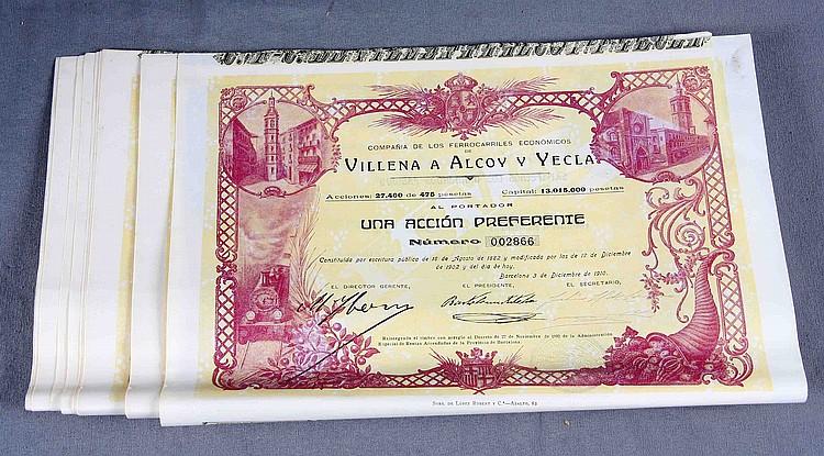 TWENTY SHARES OF THE SOCIETY OF ECONOMIC RAILROADS OF VILLENA TO ALCOY AND YECLA.