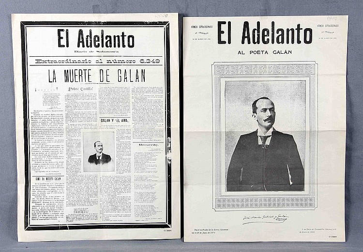 TWO ARTICLES FROM THE NEWSPAPER EL ADELANTO, DIARIO DE SALAMANCA, DATED MARCH 26, 1905, REPORTING THE DEATH OF JOSÉ MARÍA GABRIEL Y GALÁN.