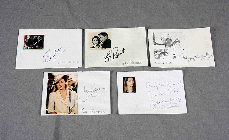 AUTOGRAPHED PHOTOGRAPHS OF JANE SEYMOUR, JOHN MILLS, DOUGLAS FAIRBANKS JR., LEE REMICK, AND CHARLOTTE RAMPLING.