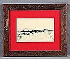 """COMAS, AUGUSTO (1862-1953). """"A Coastal Landscape"""". Pencil drawing"""