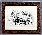 """LINDE, PAULINO (1837-1862). """"El molino"""". Pencil drawing"""