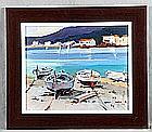 """SARQUELLA, JOAN (1956). """"Barcas"""". Oil on paper"""