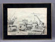 "BORDALLO, MANUEL (1920-1996). ""Industrialización"". Dibujo a lápiz, de 26x36 cm. Firmado."