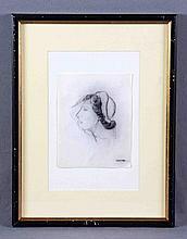 "VAQUERO PALACIOS, JOAQUÍN (1900-1998). ""Retrato"". Dibujo a carboncillo, de"