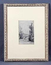 "CAMPUZANO, TOMÁS (1857-1934). ""Paisaje"". Dibujo a lápiz, de 18x11,5 cm. Firmado."