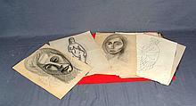 """ANÓNIMO. """"Retratos y desnudos femeninos"""". Lote formado por 38 dibujos a láp"""