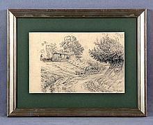 """URGELL, RICARDO (1873-1924). """"Paisaje"""". Dibujo a lápiz, de 20x30 cm. Firmado."""