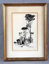 """MARTÍNEZ ALTES, GABRIEL (1861-1932). """"Vallvidrera"""". Dibujo a tinta, de 13x16 cm. Firmado y fechado 22 enero 93."""