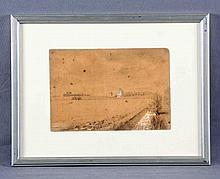"ZAMACOIS, EDUARDO (1873-1971). ""Paisaje"". Dibujo a lápiz, de 18x26 cm. Firmado y fechado 89."
