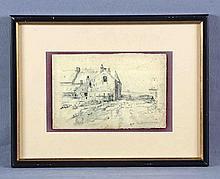 "ZUBIAURRE, VALENTÍN, DE (1879-1963). ""Paisaje"". Dibujo a lápiz, de 16x24,5 cm. Firmado."