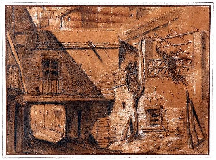 """ARAUJO, JOAQUÍN (Madrid, 1947). """"Patio"""". Dibujo a carboncillo y clarión, de 35x47 cm. Firmado y fechado Mayo 86."""