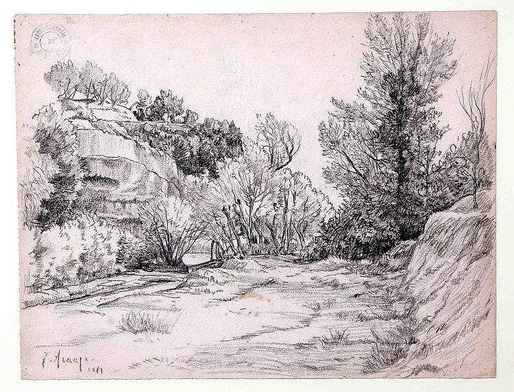 """ARAUJO, JOAQUÍN (Ciudad  Real, 1851-1894). """"Paisaje"""". Dibujo a carboncillo, de 25x32 cm. Firmado, fechado 1881 y con sello del autor."""