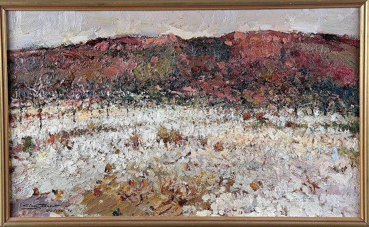 """GINER BUENO, LUIS (Valencia, 1935). """"Godella, Valencia"""". Óleo sobre tablex, de 42x70 cm. Firmado y fechado 1972."""