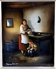 """HENC, KATARINA (Croacia, 1948). """"Ya es tarde, acuéstate"""". Óleo sobre vidrio, de 22x18 cm. Firmado y fechado 1977."""