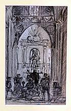 """FERRANT, ALEJANDRO (Madrid, 1843-1917). """"Iglesia"""". Dibujo a carboncillo, de 15x9,5 cm. Firmado."""
