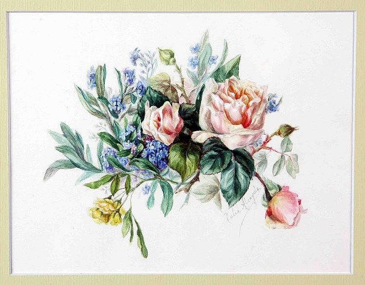 "ALCAYDE, JULIA (Gijón, 1865-1939). ""Flores"". Acuarela, de 19x25 cm. Firmada."