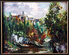 "VENTOSA, JOSEP (Palma de Mallorca, 1897-1982). ""Paisaje San Quirico"". Óleo sobre tabla, de 37x45,5 cm. Firmado."