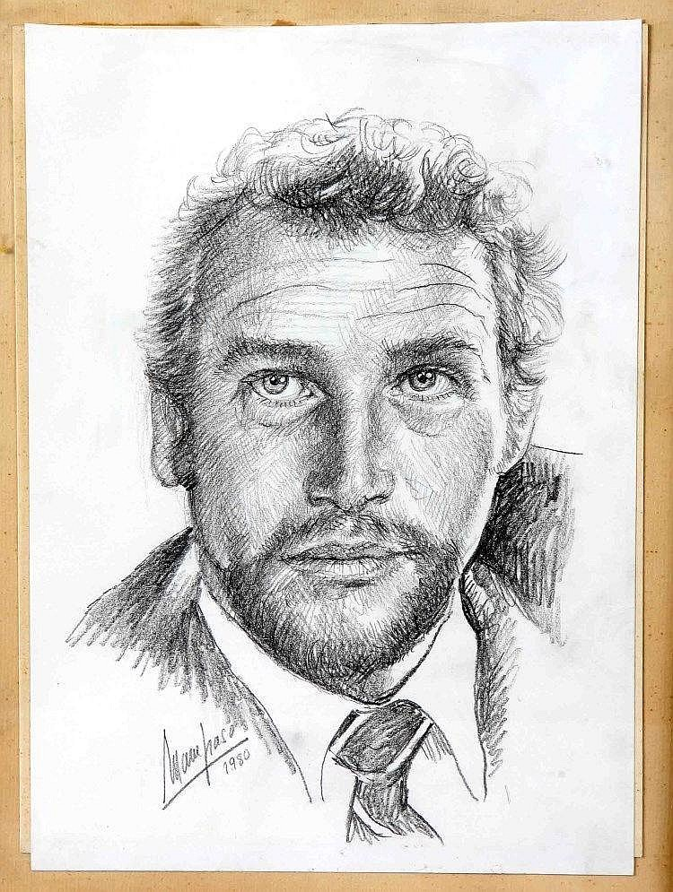 """MAMPASO, MANUEL (La Coruña, 1924-2001). """"Retrato de Paul Newman"""". Dibujo a lápiz, de 32'5x22'5 cm. Firmado y fechado 1980."""