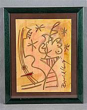 "ALBERTI, RAFAEL (1902-1999). ""Guitarra y paloma"". Mixed technique on paper,"