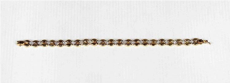 Bracelet with twenty brilliants, in rose gold mount. Pul