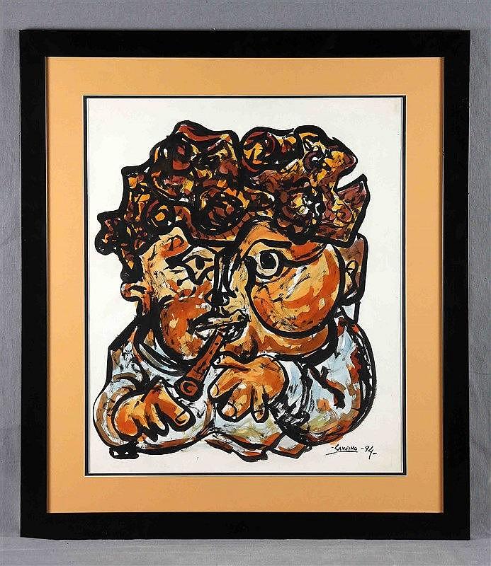 """LAXEIRO (1908-1996). """"Tocando la flauta"""". Mixed paper technique, 58x50 cm."""
