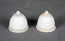LLADRÓ. Pair of memorial bells in Spanish porcelain, decorated with deer sc