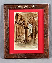 """FERRANT, ALEJANDRO (1843-1917). """"La escalinata"""". Watercolor, 25x16.5 cm. Si"""