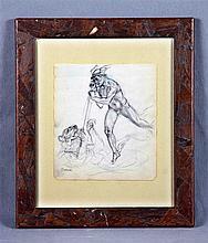 """NÉSTOR (1887-1938). """"Alegoría con Marte"""". Pencil drawing, 20.5x18 cm. Signe"""