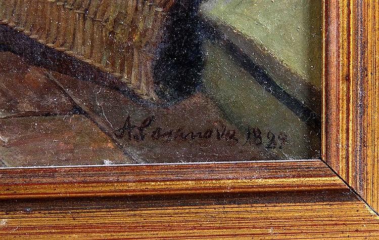 """CASANOVA ESTORACH, ANTONIO (1847-1896). """"Fraile y borrico"""". Oil on canvas,"""