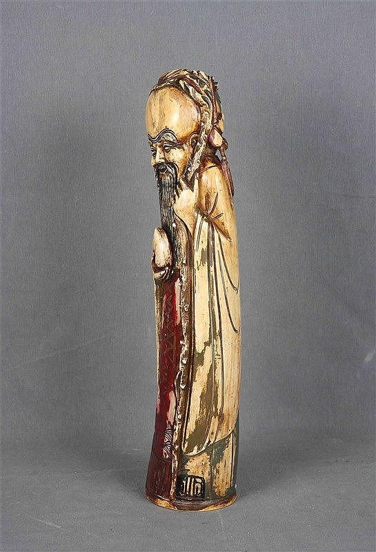 Japanese wise figure in carved and polychrome ivory. Signed on the base. He