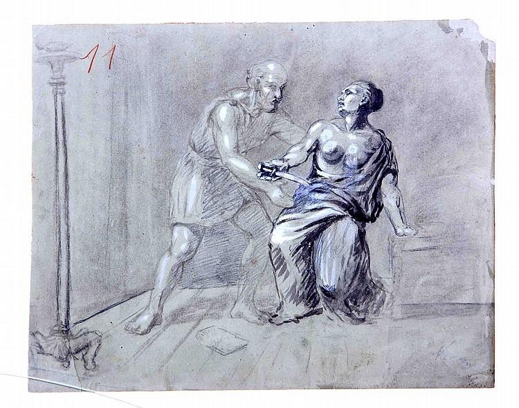 """VERA, ALEJO. """"Figuras clásicas"""". Tinta y aguada sobre papel, de 23x28,5 cm. Firmado."""
