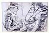 """ITURRINO, FRANCISCO. """"Personajes"""". Dibujo a carboncillo, de 12x18 cm. Firmado., Francisco Iturrino, Click for value"""
