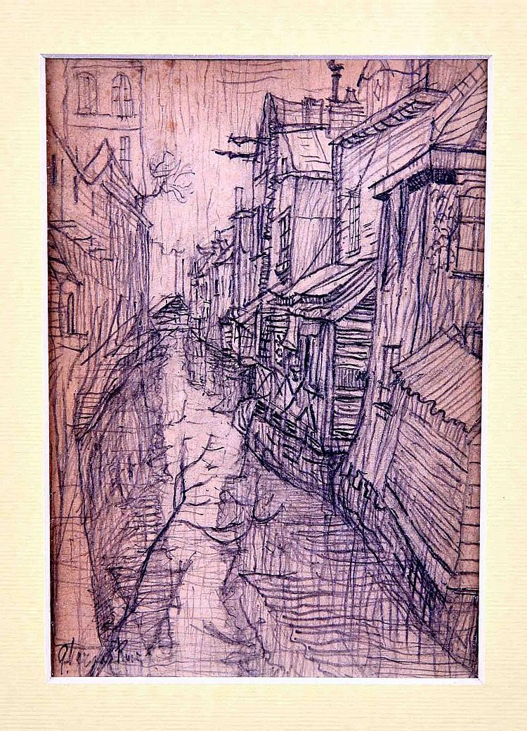 """VARGAS RUIZ, GUILLERMO. """"El canal"""". Lápiz sobre papel, de 16x11 cm. Firmado."""