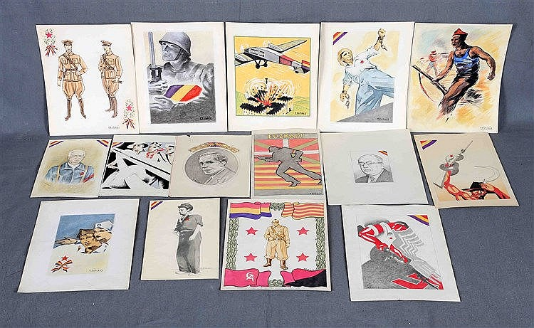 ECHAUZ, F. Lot consisting of 16 drawings and watercolours by the author, ab