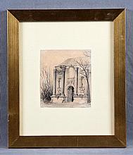 "FERRANT, ALEJANDRO (1843-1917). ""Fachada"". Pencil drawing"