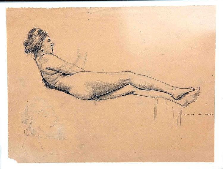 "RIBAS, FEDERICO. ""Desnudo femenino"". Dibujo a lápi"