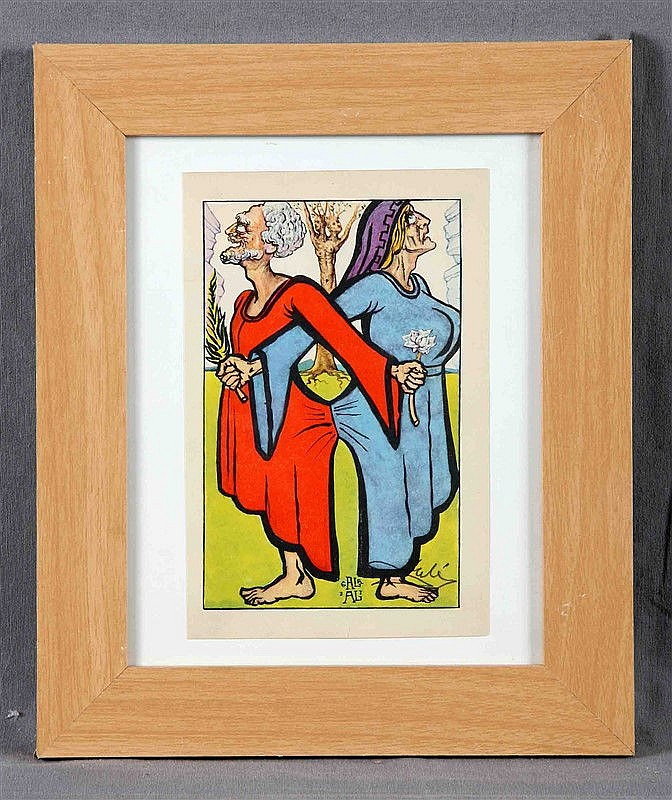 """DALÍ, SALVADOR (1904-1989). """"Of presumption"""". Color Heliolithography. Illustration for Essays of Michel de Montaigne. Signed on plate y with complementary signature in pencil. Ed. Dobleday&Company; Inc., Garden City. New York, 1947. Size: 21x14 cm."""