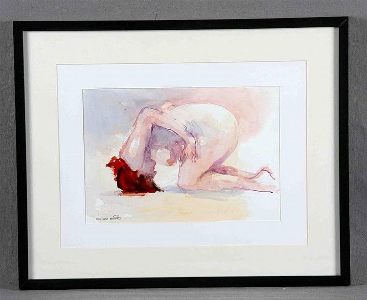 """BENITO, DOMINGO (1927). """"Desnudo"""". Watercolor, 22x32 cm. Signed."""