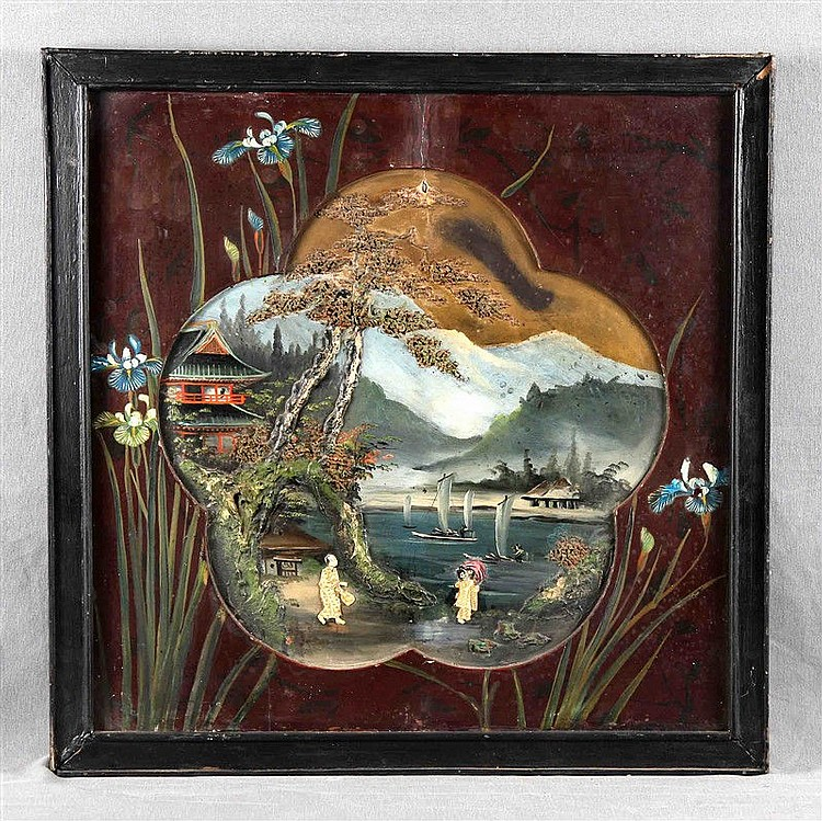 """ANONYMOUS. EASTERN SCHOOL. """"Paisaje con lago y personajes"""". Mixed technique on wood in relief, with incrustations in bone. Frame decorated with floral motifs by hand. Size: 53.5x53.5 cm."""