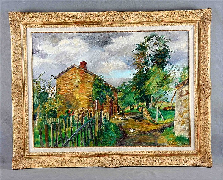 """BOITEL, MAURICE (1919-2007). """"La finca"""". Oil on canvas, 60x81 cm. Signed. Signed and dated 74 on the back. It is accompanied by certificate."""