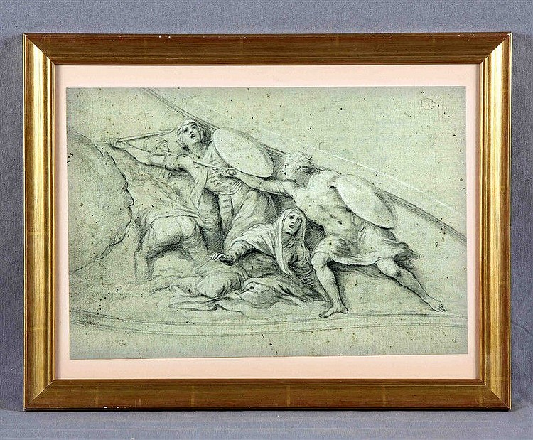 "ANONYMOUS. SPANISH SCHOOL, 19TH CENTURY. ""La batalla"". Drawing in charcoal, 24.5x36.5 cm."