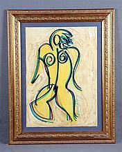 """ALBERTI, RAFAEL (1902-1999). """"Figura"""". Mixed technique on paper, 48.5x35 cm. Signed."""