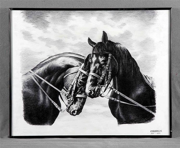 "ÁLVAREZ, ERNESTO (20TH CENTURY). ""Pareja de caballos"