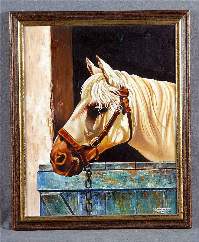 """ÁLVAREZ, ERNESTO (20TH CENTURY). """"Caballo en el establo"""". Oil on canvas, 44x35 cm. Signed and dated 2000."""