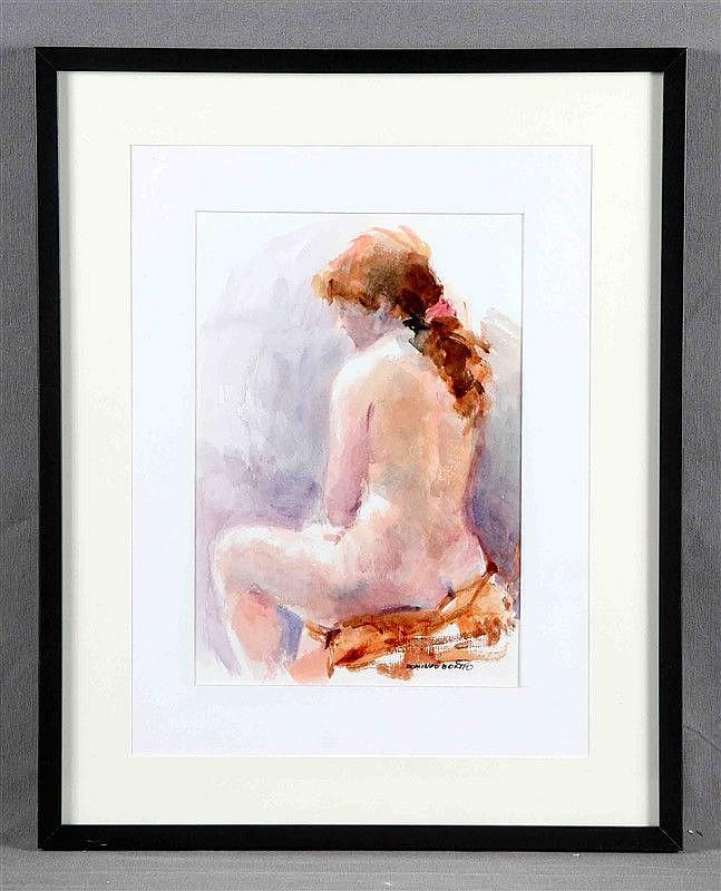 """BENITO, DOMINGO (1927). """"Desnudo de mujer sentada"""". Watercolor, 32x22 cm. Signed."""