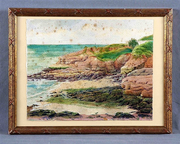 """COMAS, AUGUSTO (1862-1953). """"Paisaje de costa"""". Watercolor, 27x33.5 cm. Signed."""