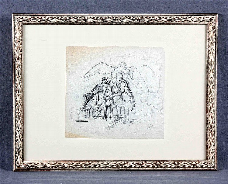 """ARCOS, SANTIAGO (1865-1912). """"Escena"""". Pencil drawing, 19.5x21 cm. Signed and dated 87."""