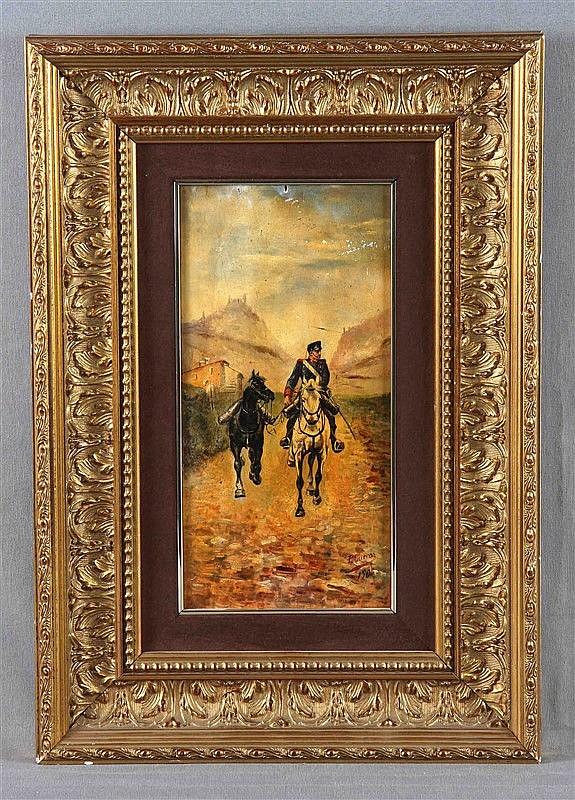 """CUEVAS, P. """"Paisaje con soldado y caballos"""". Oil on board, 32.5x16.5 cm. Signed and dated 1900."""
